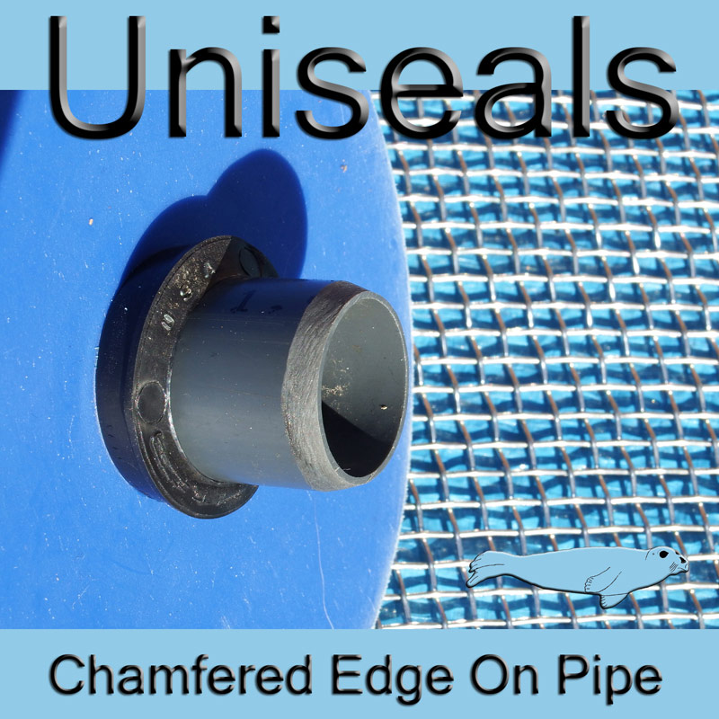 Uniseal pipe chamfered edge